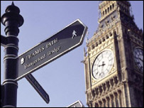 Photo of Big Ben and signpost