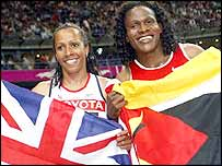 Britain's Kelly Holmes finished behind training partner Maria Mutola in the women's 800m