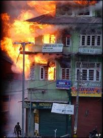 Hotel on fire in Srinagar