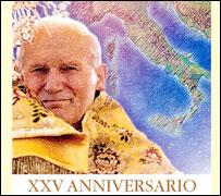 Estampilla del correo italiano con el aniversario del Papa