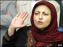 Shirin Ebadi speaking at a Tehran press conference