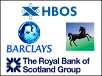The logos of Barclays, HBOS, Royal Bank of Scotland and Lloyds TSB