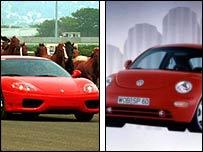 Ferrari and VW Beetle