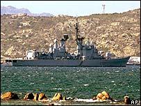 Escort ship off Sardinia