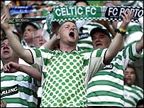 Celtic fans at the Uefa Cup final in Seville