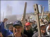 Anti-government protesters in La Paz, Bolivia