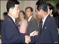 North Korean chief delegate Pak Chang Ryon (left) with his South Korean counterpart Kim Gwang-lim