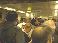 Commuters crowd Bank station