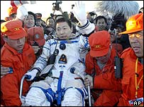Yang Liwei emerging from the Shenzhou V in Inner Mongolia