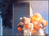 World Trade Center shortly after the second hijacked plane crashed into the south tower, 11 September 2001