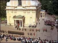 Nicholas II's burial at SS Peter and Paul cathedral in St Petersburg