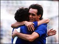 Pablo Pedro Pasculli embracing a colleague at the 1986 World Cup