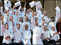 Chefs of the CCC throw their hats into the air