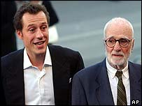 Italian actor Stefano Accorsi and Mario Monicelli
