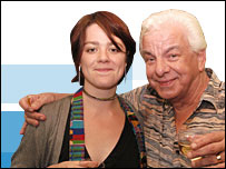 Vicky Hume and comedian Barry Cryer