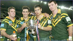 Australia's players celebrate victory against Great Britain in 2002