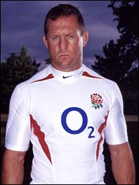 England back rower Richard Hill models the new shirt