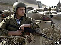 Российский военный в Чечне