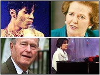 Clockwise from top left: Prince, Maggie T, Enya and Bush Snr