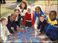 Children with their mosaic