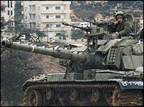 Israeli tank on patrol in the West Bank town of Ramallah