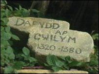 Bedd posib Dafydd ap Gwilym yn Ystrad Fflur