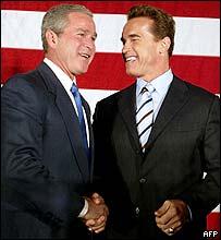 George W Bush meets Arnold Schwarzenegger