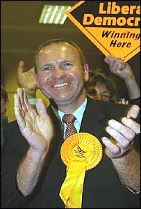 Liberal Democrat candidate Martin Smith celebrates victory