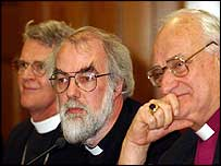 US Bishop Frank Griswold, Archbishop of Canterbury Dr Rowan Williams and Archbishop of Armagh Robin Eames