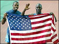 Capel and Patton celebrate their medals