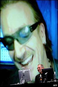 Apple iTunes' Steve Jobs with Bono on screen at launch