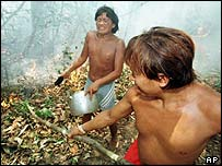 Yanomami Indians in Amazon jungle