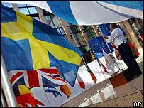 European flags flapping at European Commission
