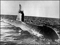 Archive picture of a Russian November class nuclear attack submarine similar to the K-159
