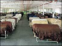 Leather hides waiting for use in DeCoro's factory