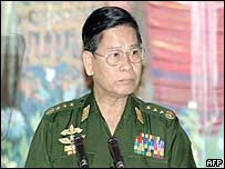Burma's new Prime Minister General Khin Nyunt before delivering his speech on 30 August 2003
