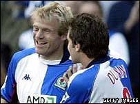 Egil Ostenstad celebrates with Blackburn