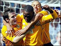 Blackburn striker Andy Cole celebrates his opening goal