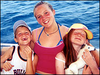 Harry Palmer, left, with his sisters on holiday in Turkey