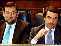 The retiring Spanish PM Jose Maria Aznar (right) with Mariano Rajoy, who will lead Aznar's party into elections