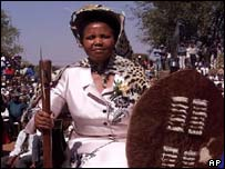 Mosadi Seboko is draped in a leopard skin to  mark her authority as she was installed as Botswana's first female paramount chief