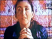 Colombian former presidential candidate Ingrid Betancourt taken from a video aired by TV station Noticias Uno