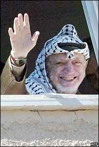 Yasser Arafat in his Ramallah compound