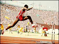 Ed Moses flies over a hurdle at the 1984 Olympics in Los Angeles