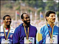 From left: Danny Harris, Ed Moses and Harald Schmid at the 1987 world championships in Rome