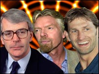 John Major, Richard Branson and Tony Adams