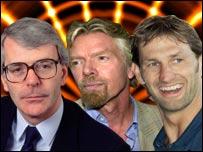 John Major, Richard Branson and Tony Adams