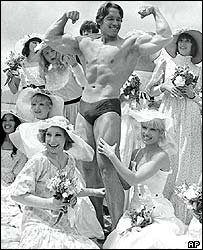 Arnold Schwarzenegger promoting Pumping Iron in 1977