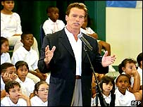 Arnold Schwarzenegger campaigning at a primary school