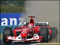 Michael Schumacher runs wide